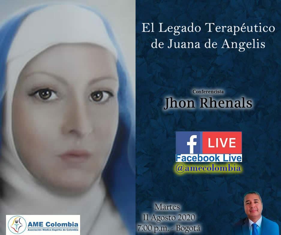 video de la conferencia El Legado Terapéutico de Juana de Angelis. Por John Rhenals. 11 de Agosto 2020