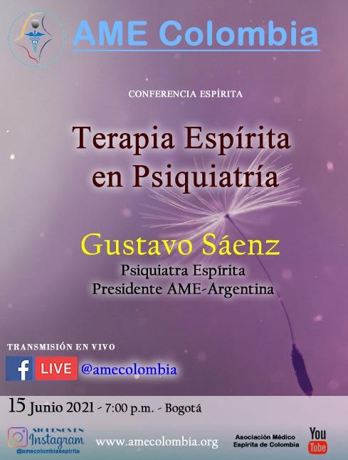 video de la conferencia Terapia espírita en Psiquiatría, con Gustavo Sáenz. Junio15_2021